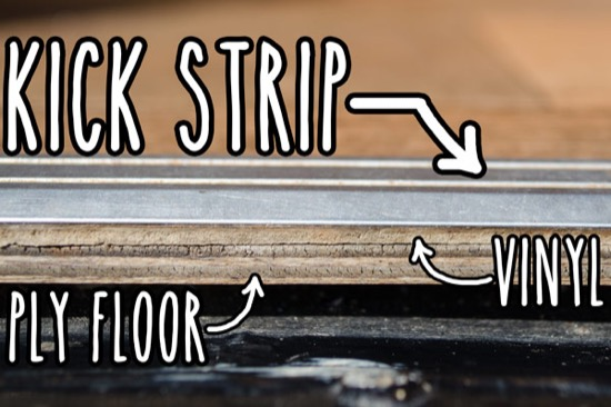 Kick strip on floor edge around entrance