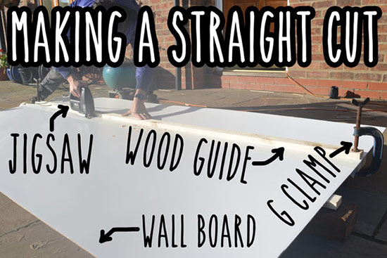 Making a straight cut in wall board