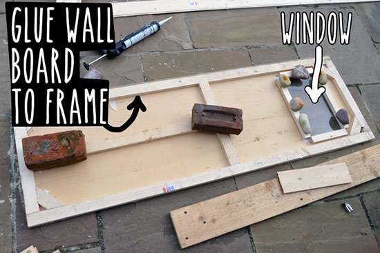 Gluing wall board to frame