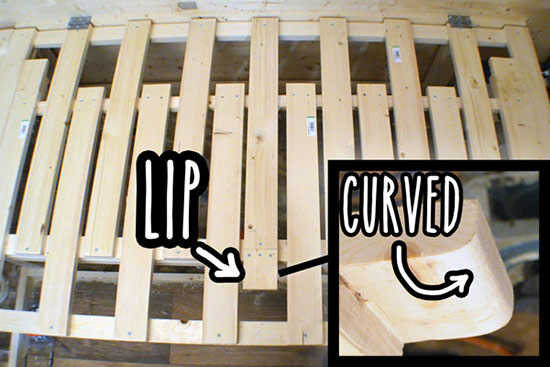 Curved lip of the middle static slat