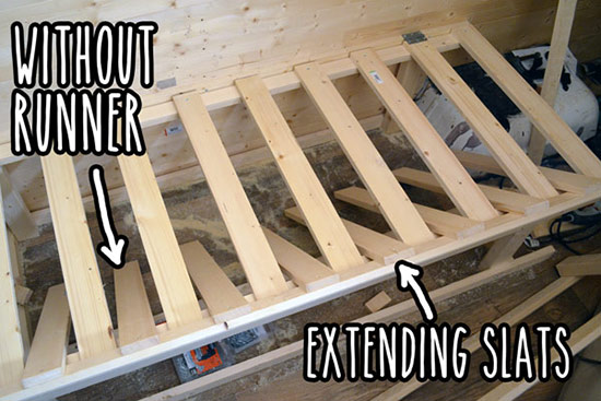 Extending slats without runner