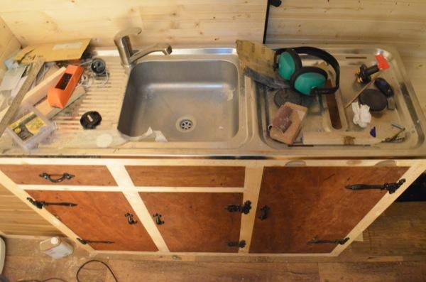 Making the kitchen cupboards - Vandog Traveller