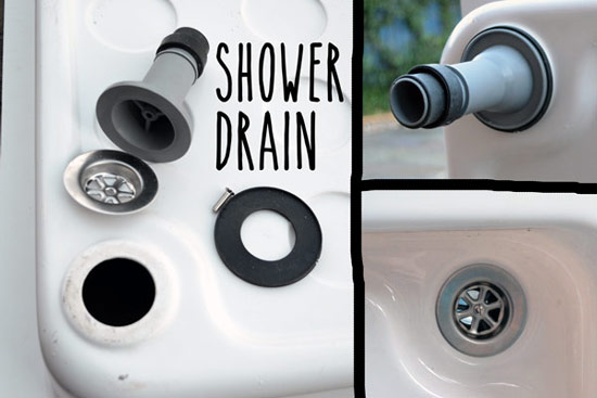 Drain attachement on shower tray