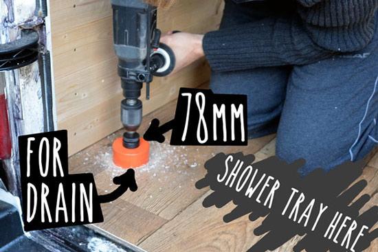 Cutting shower drain in floor of van