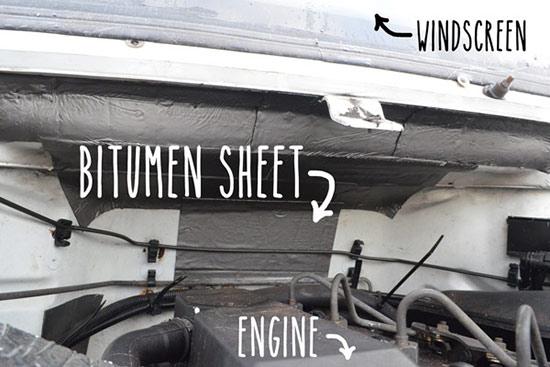 Sticking bitumen sheet in engine bay