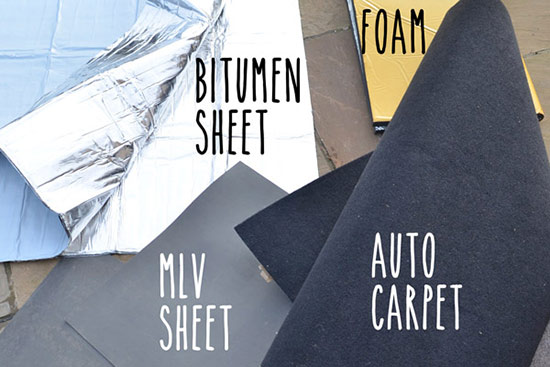 Here are the 4 different materials I used for the sound deadening: bitumen sheet with sticky back, mass loaded vinyl, carpet and foam