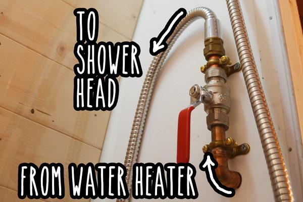 Shower tap on bathroom wall