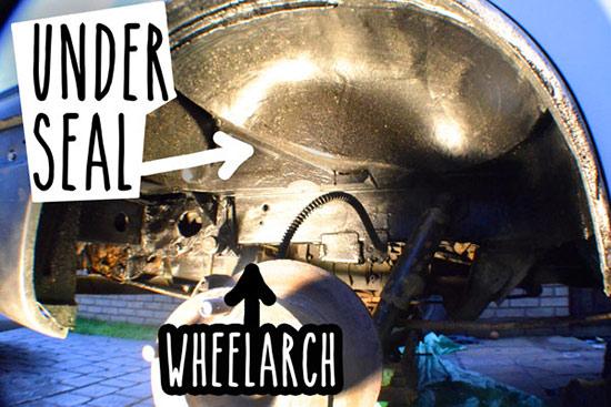Undersealing wheel arch