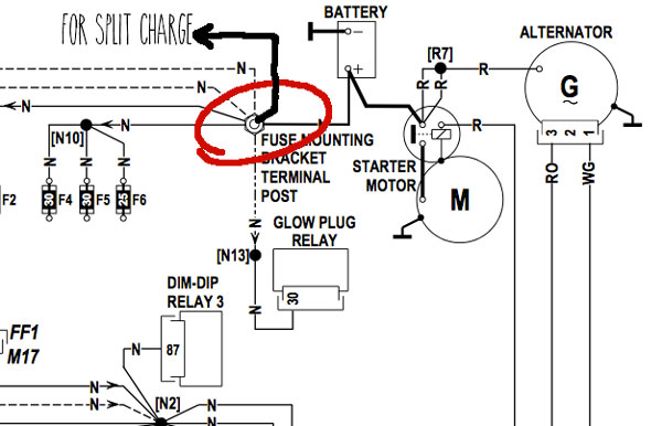 alternator split charge connection campervan 12v electrical system installation and wiring automatic charging relay wiring diagram at crackthecode.co