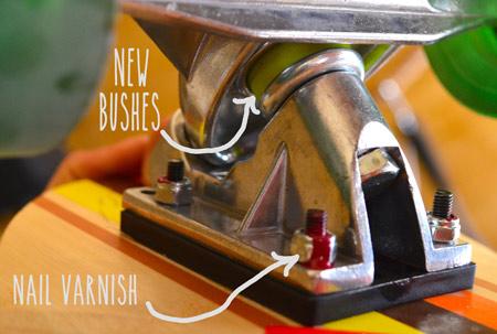 nail varnish to stop screws shaking loose.