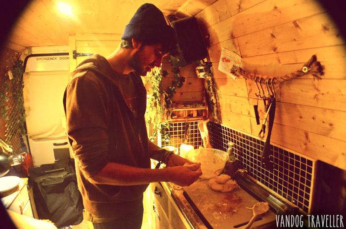 living-in-van-making-bread