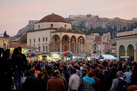 Avissynias Square, in the flea-market neighbourhood of Monastiraki