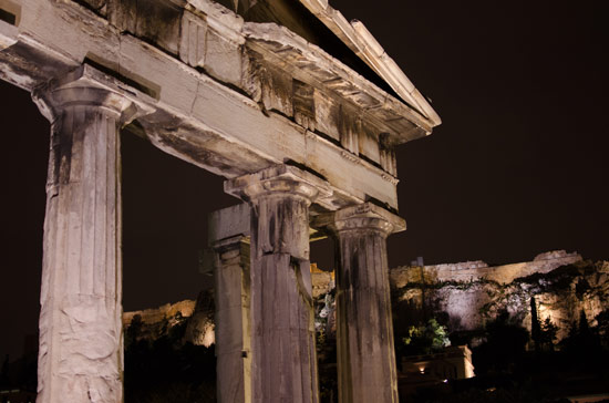 The Gate of Athena Archegetis in the Roman Forum. I know what a Doric column is now. The Acropolis is in the background