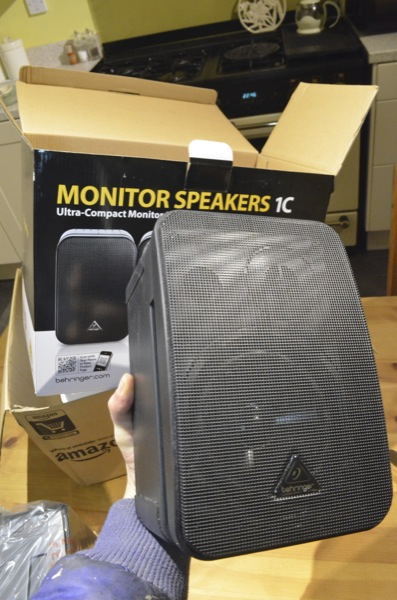 Each speaker is 225 x 150 x 142mm and weigh in at a measly 1.8kg - great for wall mounting i guess but i probably cannot expect anything like the punchy (and rather weighty) low end response of my Alesis monitors