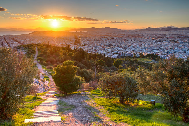 sunset-on-Filopappos-hill-athens