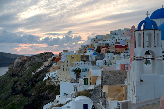 The cliff top town of Oia in Santorini