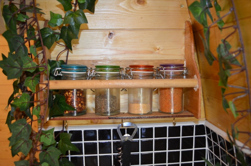 homemade spice rack in my campervan