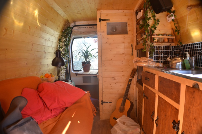 pine wood campervan