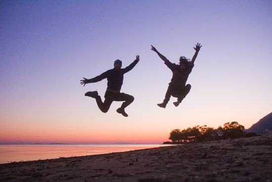 Mike (left) and me (right) Mike–he's won a Guinness world record for these jumps shots
