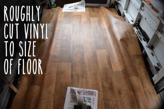Fitting vinyl to floor area