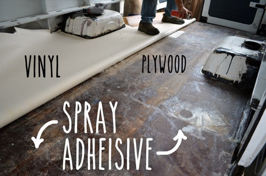 Gluing vinyl to plywood floor