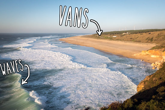 travelling-portugal-by-campervan-beach-nazare-waves-vans