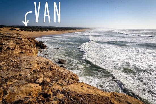 Morocco-by-campervan-sidi-kaouki-beach-van