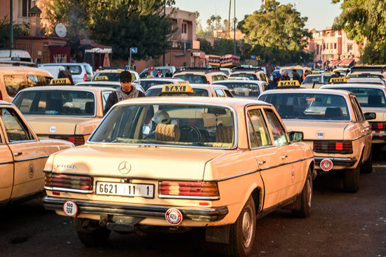 morocco-campervan-marrakech-taxis-traffic