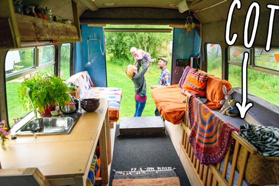 diy-campervan-conversion-budget-baby-cot