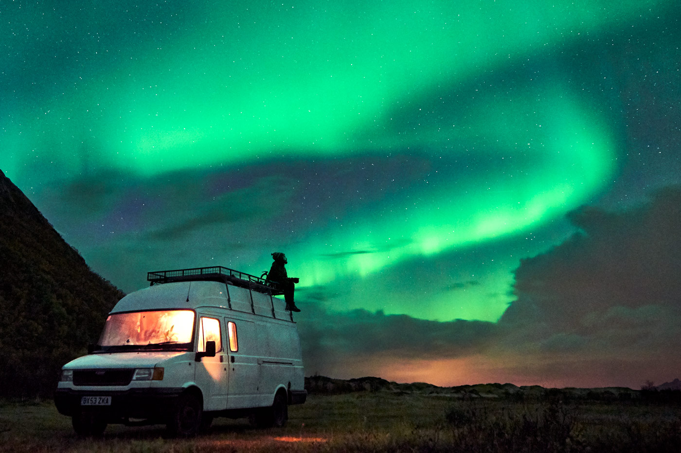Campervan travelling in Norway with the Northern Lights