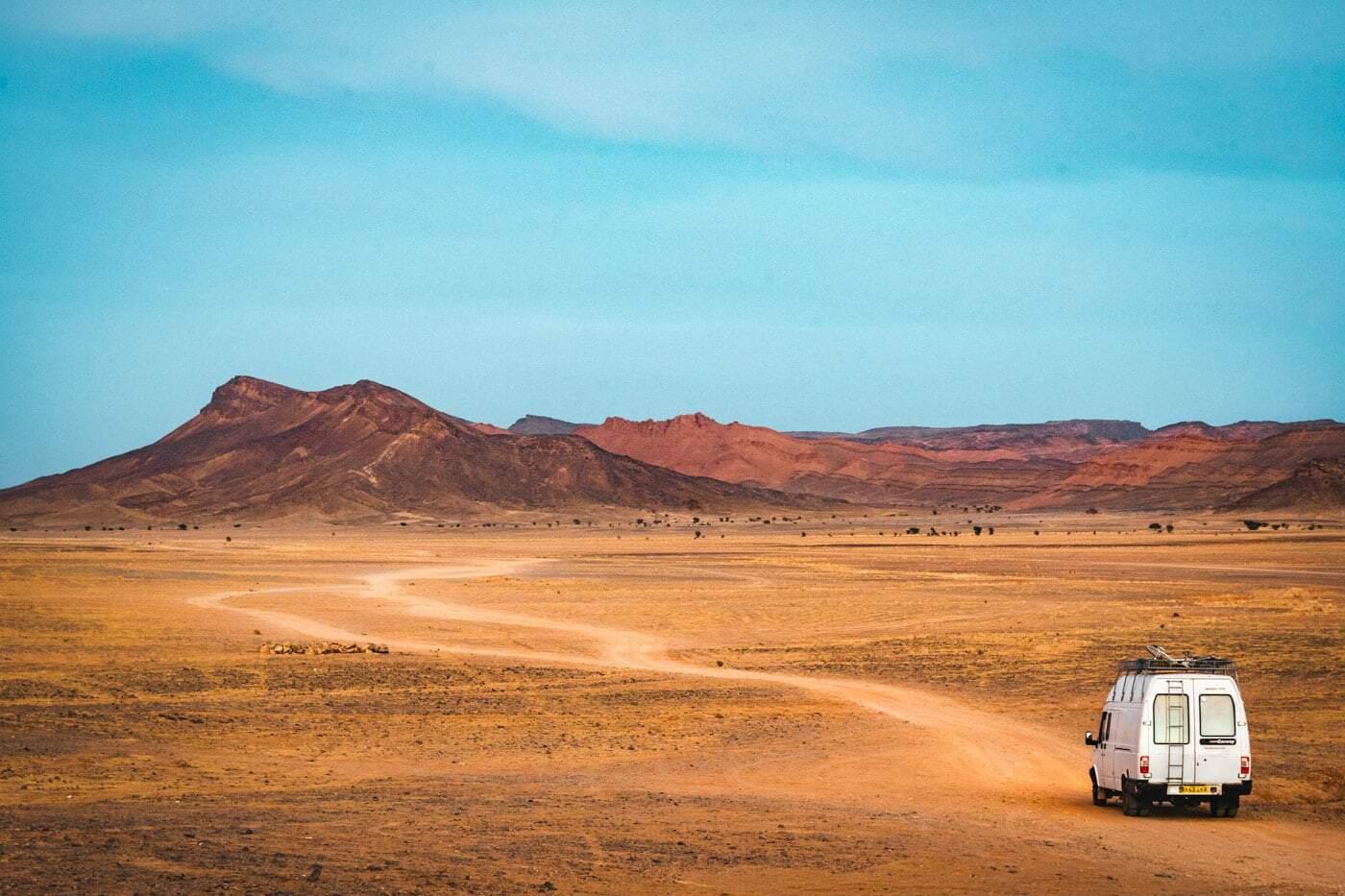 Campervan travelling in Morocco in the desert